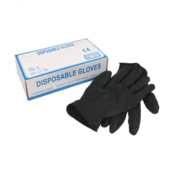 Heavy Duty Black Nitrile Gloves and Box Size Large